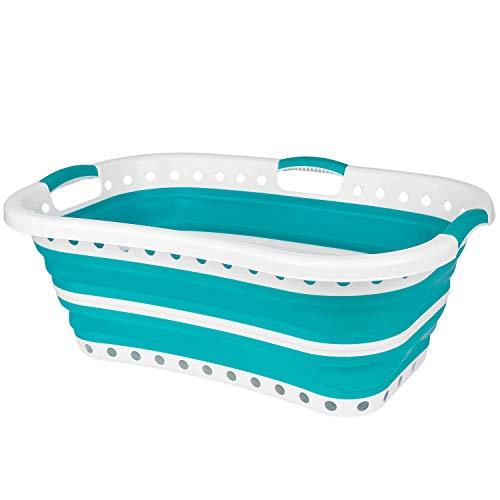 Beldray Cesta plegable para la ropa adaptable a la cadera LA072979TQEU Ideal para transportar una gran carga de lavado por la casa o hasta la lavandería| Plástico | 37 L | Turquesa, 66 x 44 x 24 cm