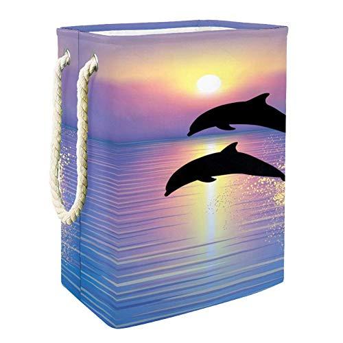 Nobrand Delfin-Wäschekorb für Wäschekorb, integriertes Futter mit abnehmbaren Klammern, faltbarer Wäschesammler für Spielzeug und Kleidung
