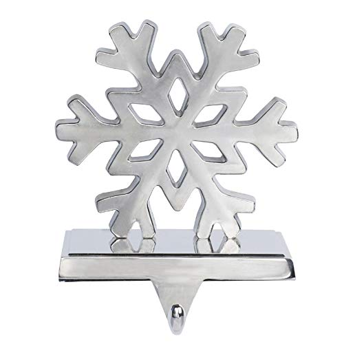 Hooqict 2 Pack Snowflake Christmas Stocking Holder 3D Metal Snowflake Christmas Mantel Stocking Hangers for Christmas Decorations Fireplace Mantle Table Decor