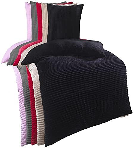 Kuscheli® Winter Wende Plüsch Bettwäsche 135 x 200 od. 155 x 220 mit 80x80 Kissenbezug Cashmere-Touch Coral Fleece Deckenbezug, Farbe:Schwarz, Größe:135x200 + 80x80