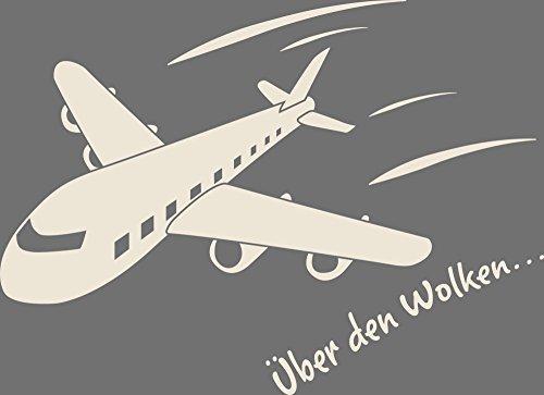 GRAZDesign Muurtattoo kinderkamer jongen vliegtuig klein - Muursticker plakfolie Jongens Vlieger 69x50cm 816, antiek wit.