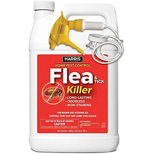 outdoor flea sprays 2 Harris Flea and Tick Killer, Liquid Spray with Odorless and Non-Staining Extended Residual Kill Formula (Gallon)