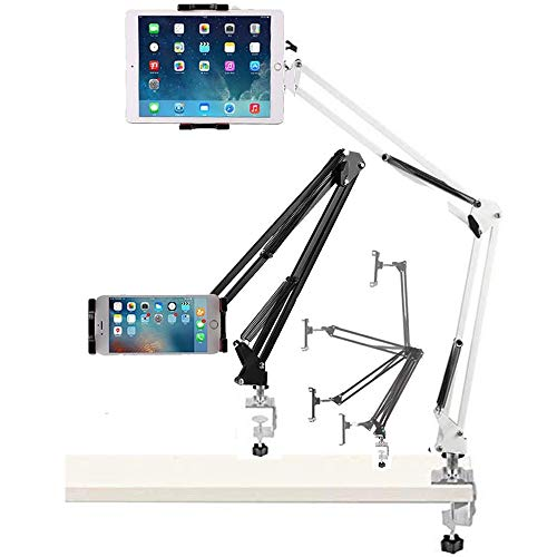 Tablet Holder Phone Stand, 3.5-13.5inch Gooseneck Lazy Arm Clamp Adjustable Bed Desk Flexible Mount Hands-Free Video Call Compatible with 12.9 iPad Pro Mini Air, Huawei Samsung Tab S6 S5e S20 Note20