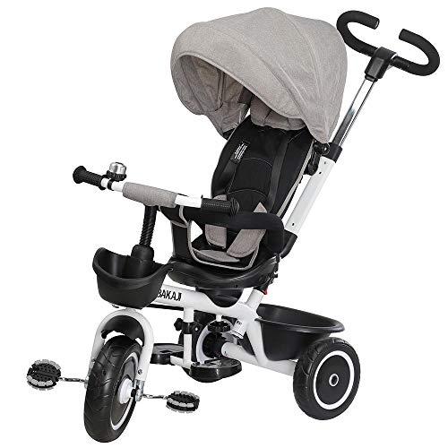 BAKAJI Triciclo Passeggino per Bambini a Pedali e Spinta 3in1 con Sediolino Girevole a 360 Gradi Direzione Mamma Imbottito Cinture di Sicurezza Maniglione Direzionabile e Tettuccio Parasole (Grigio)