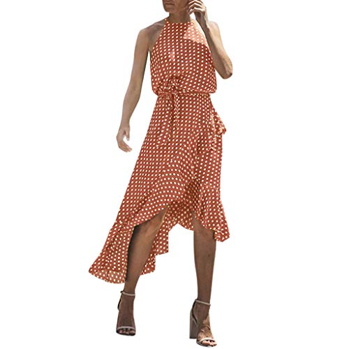 Review Of Fudule Women Dresses Summer Sleeveless Polka Dot Print Dresses Beach Holiday Casual Swing ...