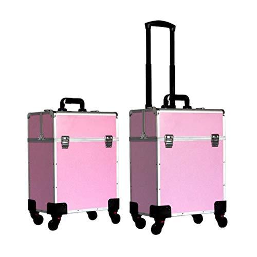 DPPAN Professionnel Aluminium Valise de Maquillage, Grande Valise à Cosmétiques, Coiffure Mallette à Maquillage avec 360° Roulettes Voyage pour,Pink