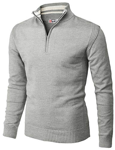 H2H Mens Casual Slim Fit Pullover Sweaters Mock Neck Zip up Various Patterned Gray US XL/Asia 2XL (CMOSWL048)