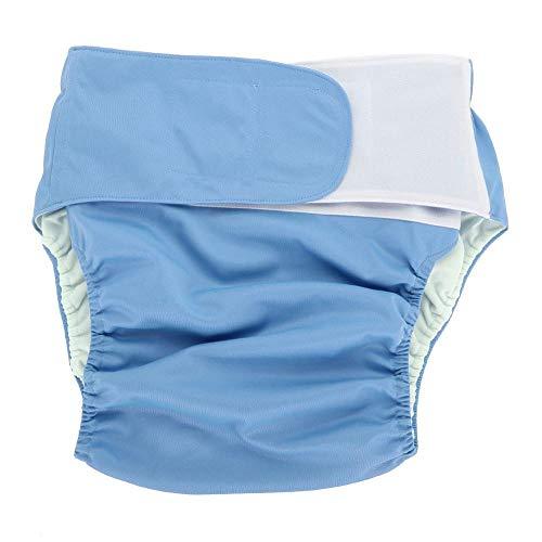 Pañales Adultos de Tela, Pañal Reutilizable Lavable Ajustable Pañal Grande para el Cuidado de la Incontinencia Cuidado pañal de Tela Pantalones Respirables del Panal (Azul)