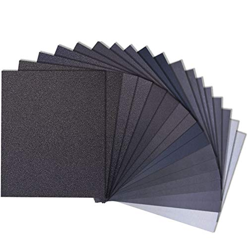 Sandpaper 120 to 5000 Girt Sand Paper Assortment, Wet Dry Waterproof Abrasive Variety Pack Sanding Paper Sheets for Automotive Car Wood Metal Plastic Glass Polishing Finishing, 9х11 Inch