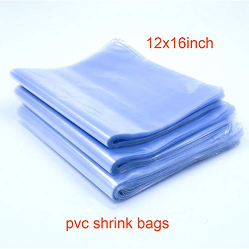 Aneforall Shrink Bags, Shrink Wrap Bags Heat Seal PVC Film 100 Ga for Soaps, Bath Bombs, Bottles, Crafts, Shoes & DIY(Best Shrink Rate) (1216 inch)