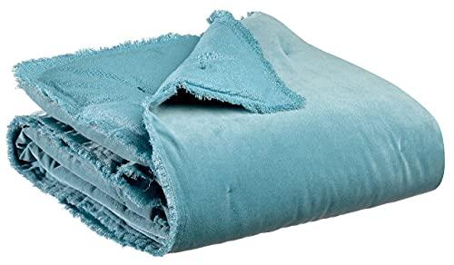 Vivaraise – Manta de sofá suave – 150 x 200 cm – 100 % terciopelo de algodón – Colcha Cocooning – Acabado con flecos