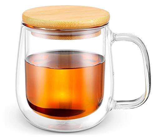Taza de café y taza de té de cristal con tapa de...