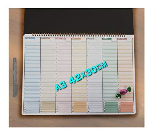 Planning settimanale da tavolo SENZA DATE formato A3 42x30cm con spirale