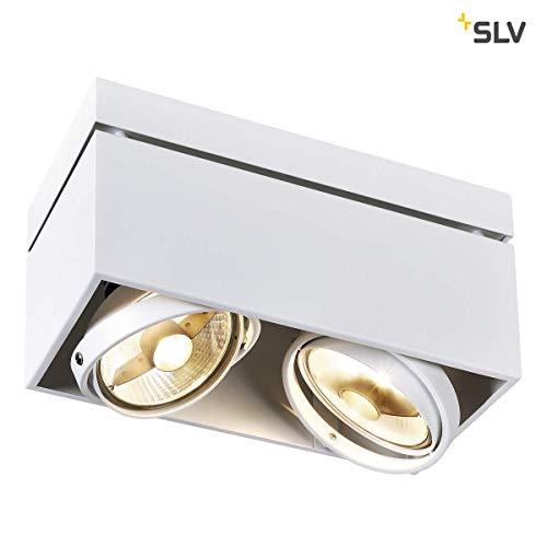 SLV LED Deckenlampe KARDAMOD für eine effektvolle Innenbeleuchtung | Dreh- und schwenkbare LED Deckenleuchte, Decken-Strahler, Spot Innenleuchte | Zweiflammig, Eckig, Weiß, GU10, max. 75W, E -A++