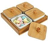 lawei ceramic divided serving dishes with bamboo platter - chip serving bowl appetizer platter set