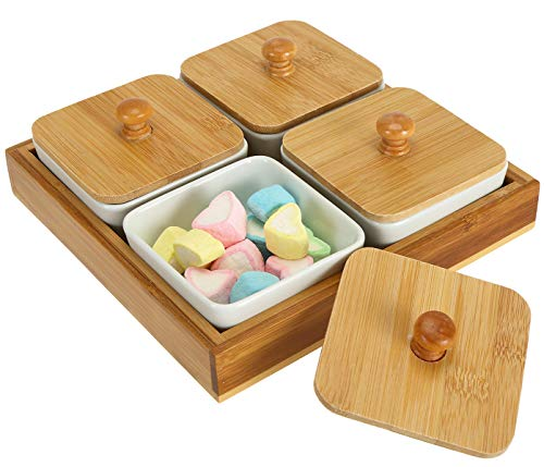 Lawei Snack Serving Tray - 4 Compartment Dip Bowls with Bamboo Lids and Tray Serving Platter for Food Snacks, Condiments, Appetizers, Nuts, Dipping