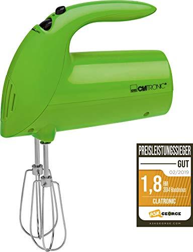 Clatronic Handmixer HM 3014 /// Edelstahlquirle & -knethaken /// 5 Geschwindigkeitsstufen /// Zubehörteile spülmaschinengeeignet /// 250 Watt /// Grün