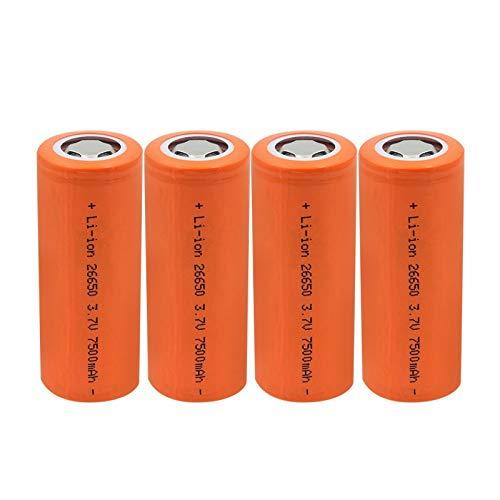 ndegdgswg 3.7v 7500mah 26650 10a batería de litio, corriente grande de alta descarga recargable para linterna faro 4PCS