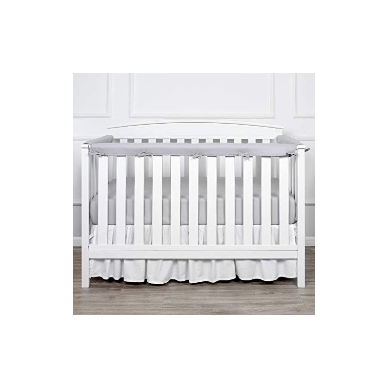 crib bedding and baby bedding tillyou 3-piece padded baby crib rail cover protector set from chewing, safe teething guard wrap for standard cribs, 100% silky soft microfiber polyester, fits side and front rails, pale gray