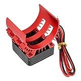 Ventilador de refrigeración del Motor Ventilador de disipador de Calor eléctrico 41 x 30 x 40 mm Repuestos de vehículos Aptos para Coche Modelo RC eléctrico a Escala 1/10(Negro Rojo)