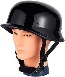 German Novelty Shiny Black Motorcycle Skull Cap Cruiser Biker S, M, L, XL, XXL (XL,  Black)