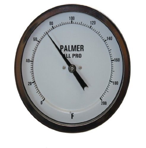 """Palmer 5AP40/200F All Pro Welded Stainless Steel 304 Bimetal Thermometer, 0/200 F Range, 5"""" Dial, 4"""" Stem, 1/2"""" NPT Connection, All-Angle Mount"""