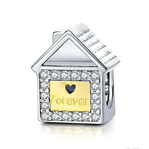 LISHOU DIY S925 Sterling Silver Home Ever Family Sweet Home House Charms Beads Fit Original Pandora Pulsera con Cuentas Collar DIY Mujer Fabricación De Joyas