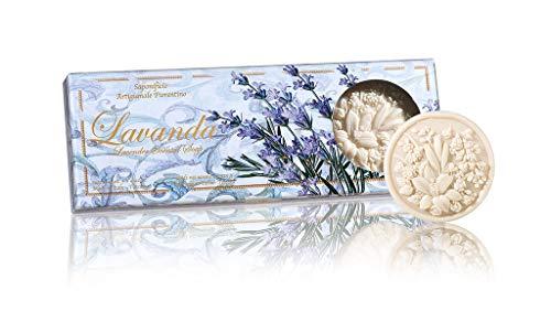 Lavanda, Boîte de 3 Savonnettes de 125g - Savon Italien Fait à la Main de Fiorentino