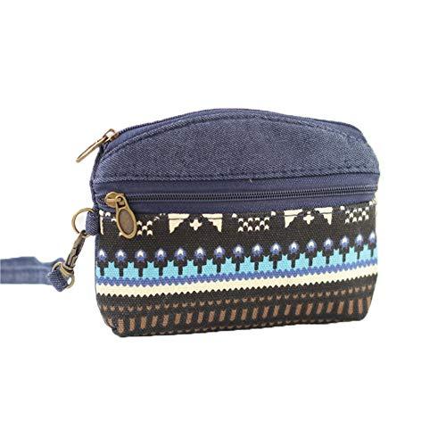 MSYOU Petite Pochette en Tissu Zippée Sac Cosmétique Multi-Fonction Sac de Rangement Cosmétique Bleu