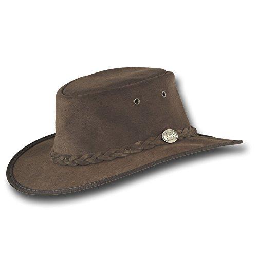 Barmah Hats Foldaway Cattle Suede Leather Hat - 1061BR / 1061HI / 1061LM (XLarge, Brown)