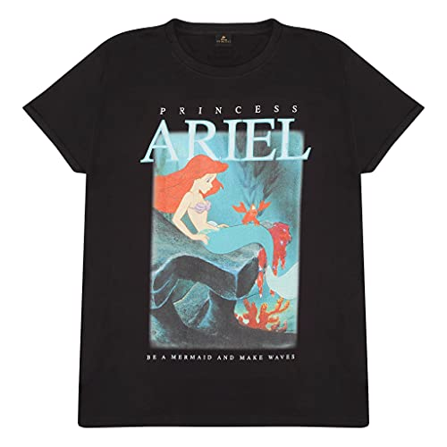 Disney Princess Olas Hacen Ariel Novio Camiseta Apta de Las Mujeres Negro XL | Película Clásico Disney tee, Idea del Regalo de cumpleaños para Damas