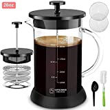 Upgraded French Press Coffee Maker Glass 20 oz, French Coffee Press with Glass handle and non-slip silicone base Precise Scale Easy to Clean Durable Heat Resistant Black/Copper/Silver