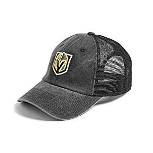 AMERICAN NEEDLE Vegas Golden Knights Raglan Bones Mesh Back Trucker Adjustable Strapback Hat (41152A-VGK) by *vender*
