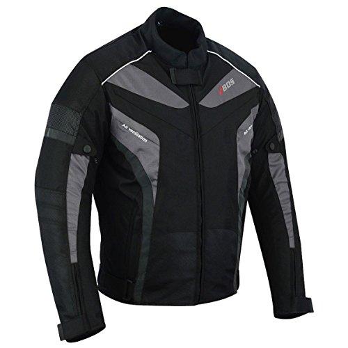 Motorradjacke Herren Textil Wasserdicht Winddicht Mit Protektoren Multifunktional Schwarz (M)
