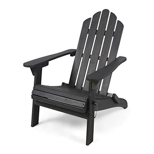 Christopher Knight Home 305376 Cara Outdoor Foldable Acacia Wood Adirondack Chair, Dark Gray Finish