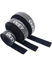 أربطة كابلات Vkey 5M قابلة لإعادة الاستخدام شريط لف قابل للتعديل منظم أسلاك حبل حامل مع حلقة ربط خطافية لإدارة كابلات الكمبيوتر