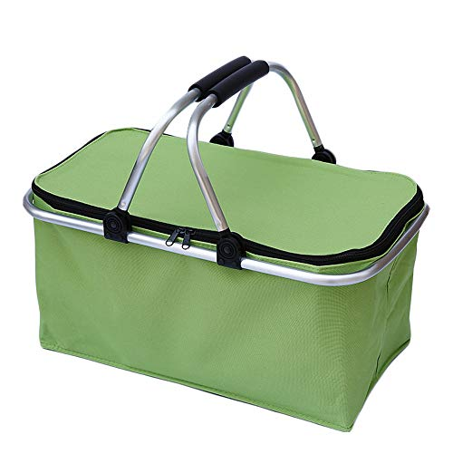 Large Insulated Picnic Basket Cooler Bag Reusable Lunch Bag Folding Collapsible Cooler Basket 30L for Camping Sports Beach Travel Green