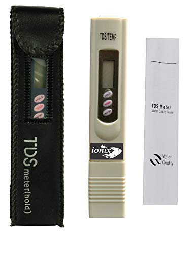 Ionix Branded tds meter for water testing/imported Digital LCD TDS Meter for RO Water, Water Filter Tester for Measuring TDS/Temp/Ppm with Carrying Case (TDS meter with Leather case)