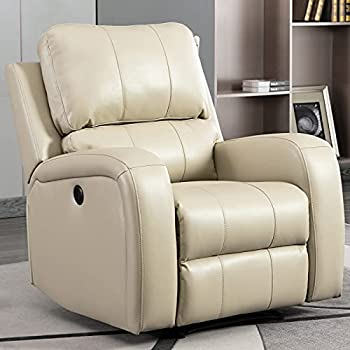 Bonzy Home Power Recliner Chair Air Leather - Overstuffed Electric Faux Leather Recliner with USB Charge Port - Home Theater Seating - Bedroom & Living Room Chair Recliner Sofa  Buff