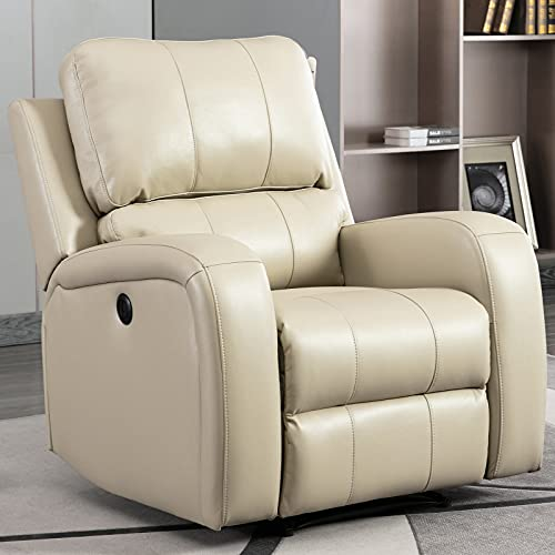 Bonzy Home Power Recliner Chair Air Leather - Overstuffed Electric Faux Leather Recliner with USB Charge Port - Home Theater Seating - Bedroom & Living Room Chair Recliner Sofa (Buff)