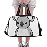 Plosds Cute Grey Cartoon Lazy Koala Custom Large Yoga Gym Totes Fitness Handbags Travel Duffel Bags with Shoulder Strap Shoe Pouch For Exercise Sports Luggage For Girls Mens Womens Outdoor