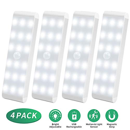 LED Sensor Licht 18 LEDs,Schrankbeleuchtung,Wiederaufladbar Schranklicht mit Bewegungsmelder,Intelligente LED Küchenleuchte,Weiches Licht für Kleiderschrank,Kofferraum,Treppe,RV(4 Stück)