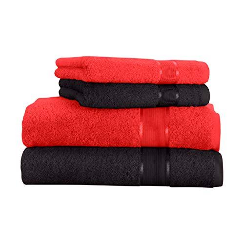Mixibaby - Juego de toallas (4 unidades) Toalla de ducha de algodón coral con combinación de colores, algodón, Negro , 70 x 140 cm