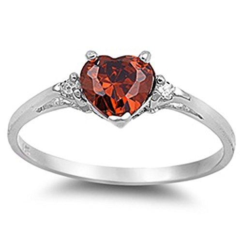 Oxford Diamond Co Simulated Garnet Heart & White Cubic Zirconia Ring Size 8