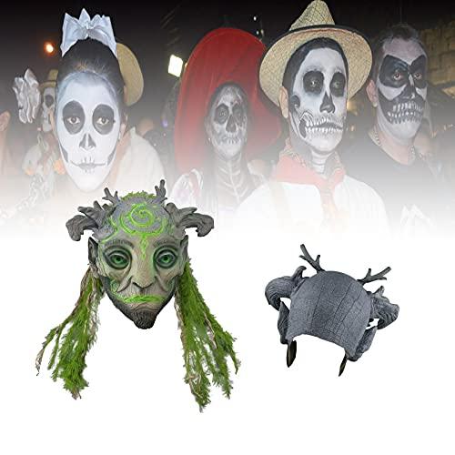 Mscara de elfo del bosque de Halloween, mscara de luz verde para fiesta de Halloween, mscara de cosplay de ltex realista, mscaras de cosplay de elfo de cabeza completa,accesorios de duende trol-C