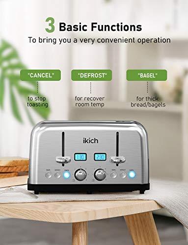 IKICH-Scheiben-Edelstahl-Toaster-1750W-mit-2-LCD-Countdown-Anzeige-35CM-Breiten-Schlitzen-6-braeunungsstufen-und-4-Moden-Bagel-Auftau-Aufwaerm-sowie-Abschaltungsmode-Silber-Stainless-Steel
