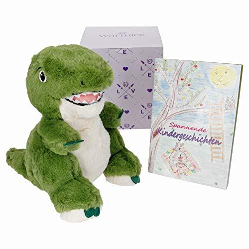 Warmies Geschenkset T-Rex, Kuscheltier, Wärmestofftier mit Lavendelduft, Wärmekissen + Geschenkverpackung Love + Büchlein mit spannenden Kindergeschichten