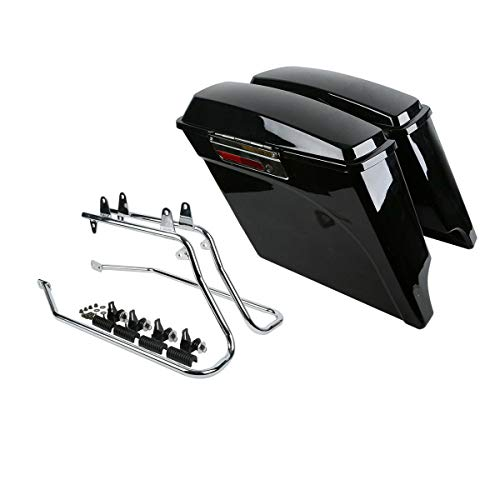 Green-L 5' Stretched Hard Saddlebags Saddle Bags with Conversion Brackets Fit for Harley Davidson Softail Deluxe 1984-2016
