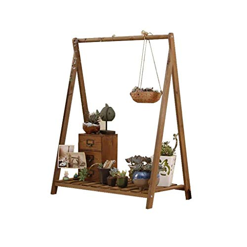 QINGJIA Flower Pot Holder Modern Plant Stand Solid Wood Hanging Single Tier Flowerpot Potted Display Stand Vines Plant Rack Balcony Floor-standing Chlorophytum Shelf Swing Frame (Size:L73cm X W42cm X