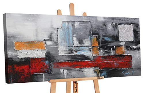YS-Art Premium | Dipinti a Mano Colori Acrilici Astrazione | Quadro Dipinto a Mano | 100x50 cm | Pittura | Dipinti Modern | Quadri Dipinti a Mano | Unico | PS 003
